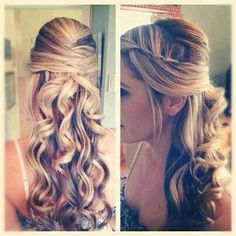 Very sweet hairstyle. Sided waterfall braid pulled in the back with curls underneath