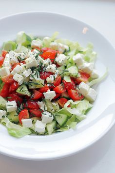 salad: feta cheese, cherry tomatoes and cabbage...