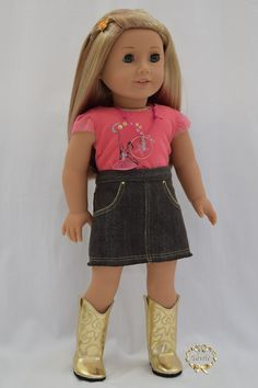 "American girl doll ""Jeans Skirt""  by Princessprincess"