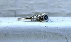 Lovely 14K White Gold Three Stone Diamond and by #GoldAdore on Etsy, $235.00 #jewelry