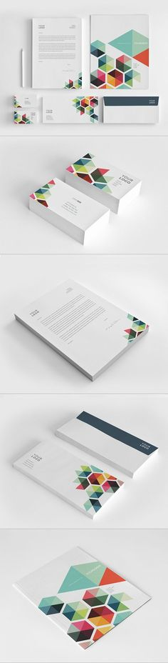 Business Colorful Stationery by Abra Design, via Behance - colourful hexagon / triangles