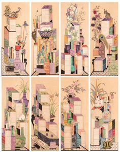 대한민국민화공모대전 - 이순옥 - 책가도 Art Drawings Sketches, Chinese Style, Traditional Design, Folk Art, Korea, Asia, Butterfly, Graphic Design, Pattern