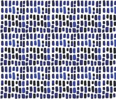 Indigo Watercolor Mosaic custom fabric by ivieclothco for sale on Spoonflower
