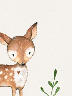 Animal Art Prints, Animal Paintings, Christmas Illustration, Illustration Art, Watercolor Flowers, Watercolor Art, Nursery Decor Boy, Deer Print, Woodland Creatures