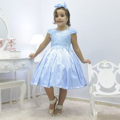 Girl's sky blue dress with french tulle with floral embroidery, formal party Blue Dresses, Girls Dresses, Flower Girl Dresses, Cute Little Baby Girl, Bordado Floral, Floral Embroidery, Dress For You, Party Dress, Casual Outfits