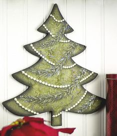 Beaded, Painted Christmas Tree -- Create holiday elegance in your home.  #decoartprojects