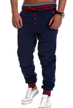Casual Beam Feet Button Embellished Rib Splicing Lace-Up Loose Fit Polyester Sweatpants For Men