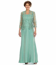 Mother Bride Groom Seafoam Lace Taffeta Formal Evening Gown Jacket Dress 18 | eBay