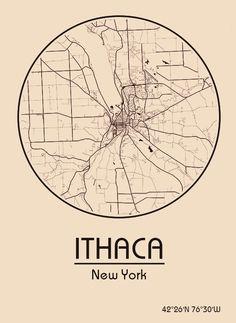 Karte / Map ~ Ithaca, New York - Vereinigte Staaten von Amerika / United States of America / USA