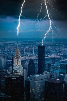 Lightning over New York City