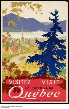 Canada 1950 Visitez Quebec Vintage Poster Art by CharmCityPosters