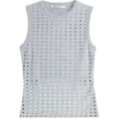 T by Alexander Wang Laser-Cut Tank Top (1,080 HKD) ❤ liked on Polyvore featuring tops, shirts, tanks, grey, gray shirt, crop tank, sleeveless shirts, grey crop top and cut out crop top