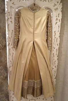 front split satin silk anarkali in champagne gold mirror work, full sleeves, mirror work, beige and gold jacket layered over bronze lehenga, high neck, sufi night, engagement or cocktail outfit, regal, royal, modest,  elegant, monochrome