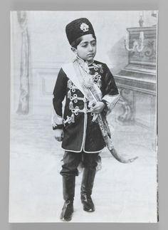 Portrait of Malijak Aziz al-Sultan or Ahmad Shah as a Young Boy, One of 274 Vintage Photographs Medium: Gelatin silver photograph Dates: ca. 1890 or 1900-1905 Dynasty: Qajar