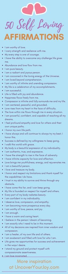 Self-Loving Affirmations 50 affirmations for self-love. Inspiring resources, quotes, and more for happiness and joy at 50 affirmations for self-love. Inspiring resources, quotes, and more for happiness and joy at The Words, Daily Affirmations, Affirmations Confidence, Positive Affirmations For Anxiety, Motivational Affirmations, Affirmations For Women, Morning Affirmations, Self Development, Personal Development
