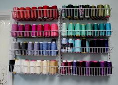 Found this kit at Target and mounted shelves side by side. ClosetMaid 8-Tier Adjustable Door Rack for serger thread.