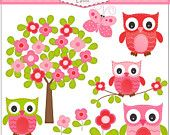 ON SALE Digital clip art Owl and flowers tree Pink Red Butterfly INSTANT Download clip art
