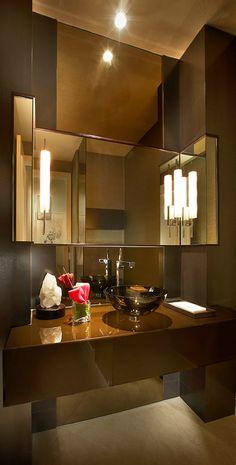 Powder Room ~ Contemporary Brown...Classy - Tuba TANIK #Lavabo #homedecor #interiordesign #decoração