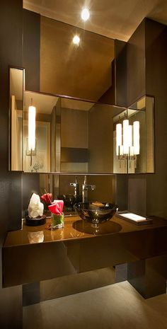 Powder Room ~ Contemporary Brown...Classy - Tuba TANIK #Lavabo #homedecor #interiordesign  #decoração