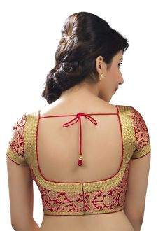 Charming Red Brocade Fancy Sari Blouse SNT-X-263-SL