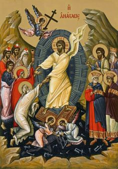 Christ is risen! The Resurrected Christ (detail from the icon of Christ appearing to St. Religion Catolica, Catholic Religion, Byzantine Art, Byzantine Icons, Religious Icons, Religious Art, Saint Gregory, Christ Is Risen, Life Of Christ