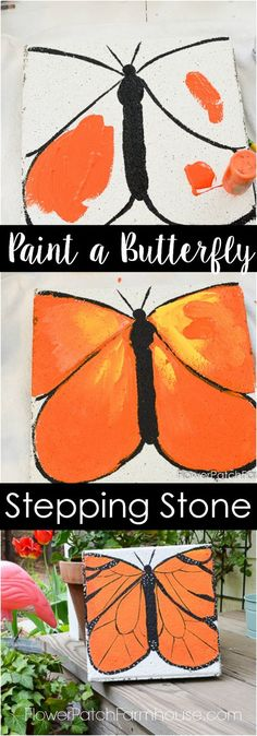 Paint a Monarch Butterfly Stepping Stone. Turn a plain cement paver into a beautiful garden stepping stone with paint!  Easy enough for kids.  FlowerPatchFarmhouse.com