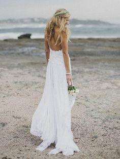 Sheath/Column Spaghetti Straps Sleeveless Chiffon Lace Sweep/Brush Train Wedding Dresses - Petite Wedding Dresses - Wedding Dresses