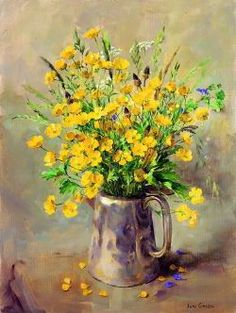 ''Buttercups in a Silver Coffee Pot'' by Anne Cotterill