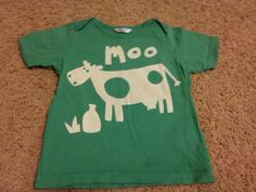 Mini Boden 18-24 Moo Cow Tee VHTF #MiniBoden - easy pattern for freezer paper screen print