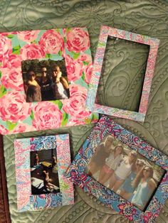 DIY Lilly Pulitzer photo frames. Simply print out Lilly prints (some included in this board) and print. Cut to size on desired area of frame and finish by using mod podge onto the frame! Simple and cute way to brighten any room