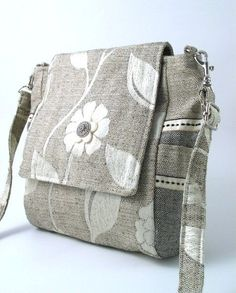 #Handmade Messenger #Bag, Grey, #Flowers by #daphnenen on #Etsy
