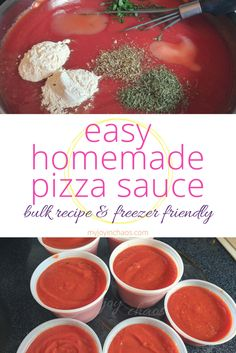 Easy Homemade Pizza Sauce {Bulk recipe & freezer friendly!} | Pizza sauce is an incredibly easy pantry item that you can make from scratch to save a good amount of money in your grocery budget. Make this recipe and freeze it in small containers so you always have pizza sauce on hand!