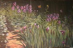 Butterflies and Purple Iris (Florence Griswold Museum) Fine Art Oil Painting by Daniel S. Dahlstrom. Part of CT Series/New England Landscapes/Gardens. More info on website: http://danielsdahlstromartist For sale $925.00