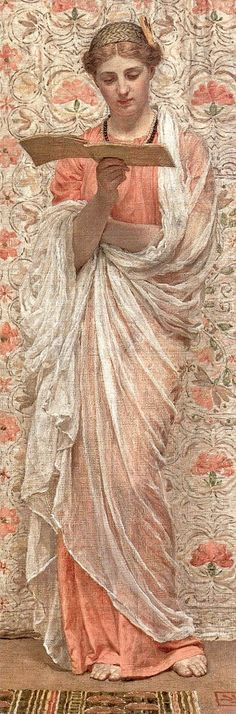 """A READER by Albert Joseph MOORE (Artist, England, 1841-1893).  [He was] """"known for his depictions of langorous female figures set against the luxury and decadence of the classical world."""" -wiki ... Beautiful woman standing, reading book."""