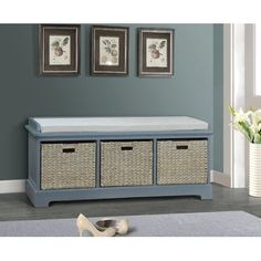 Home Styles Nantucket Distressed Upholstered Bench with Storage ...