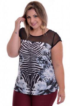 Blusa Plus Size Flower Zebra