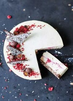Raw Coconut & Raspberry Cheesecake. Can we have a piece?