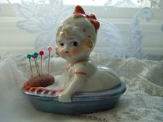 Vintage Antique Pincushion Doll Boat Girl Japan