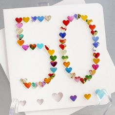 Handmade 3D '50' Card 50th Birthday Card 50th by CardsbyGaynor, £3.95