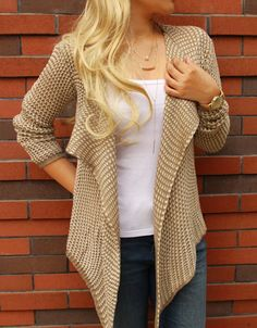 Just $33.99 Casual Coat Open Knit Cardigan Simple Sweater for women Fall Fashion. Search more at CHICNICO!