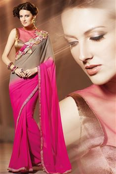 Chiffon Cream Designer party wear saree with blouse