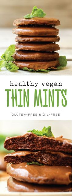 Healthy Vegan Thin Mints (gluten-free + oil-free)