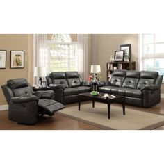Keating 3Pc Motion Living Room Set, Charcoal
