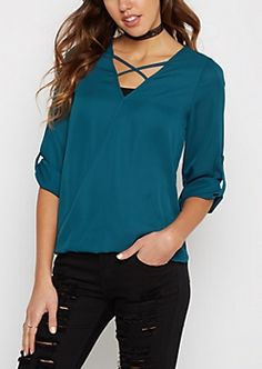 Teal Surplice Caged Blouse