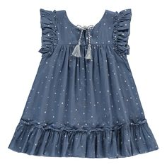 Zef Almeria Star Dress-product – - Women's Need ideas Girls Frock Design, Kids Frocks Design, Baby Frocks Designs, Baby Dress Design, Girls Boutique Dresses, Dresses Kids Girl, Kids Outfits, Children Dress, Baby Girl Frocks