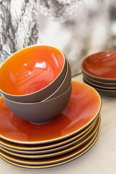 Orange and Gray Porcelain