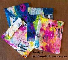 Lonely Cards: Gelli plate printing with Deli paper
