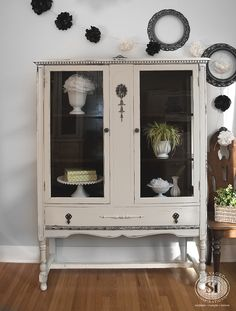 Salvaged Inspirations   Here's a vintage china cabinet I restyled that needed some TLC. It was painted in the NEW General Finishes Chalk Style Paint in Bone White. Dry brushed and lightly distressed. Love this before and after!!!