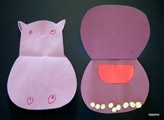 Happy hippos craft. Cute idea!! Also possible to adapt for teeth /dentist themed story time week?