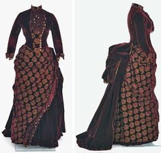 Burgundy velvet bustle dress, Mary G. Worley, St. Paul, MN (attr.), ca. 1884-89. Two pieces. Minnesota Historical Society